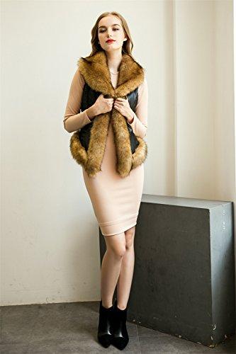 VLUNT Femme Chaud Epaise Fourrure Longue Fleece Parkas Manteau Veste Blouson Longue brown