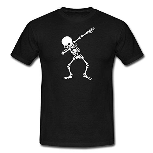 ett Dabbing Gerippe Halloween Männer T-Shirt, XL, Schwarz (Mann, Skelett, Halloween)