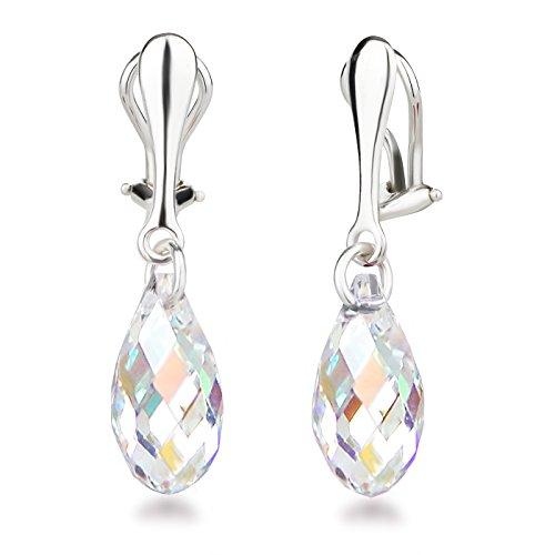 Schöner-SD Ohrclips Hänger 925 Silber Ohrringe Clip mit 17mm Swarovski® Kristall Briolette Crystal Aurora Boreale