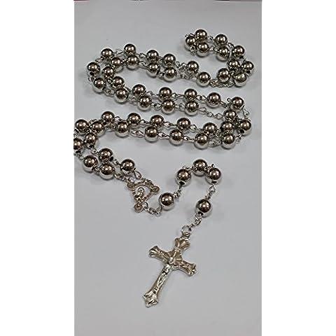 Argento Santo Rosario perline di cristallo Croce Collana In Argento Tono Effectz Sterling