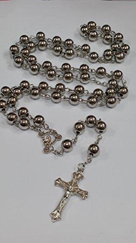 Silber Holy Rosenkranz Kristall Perlen Kreuz in Silber Ton Halskette von Sterling effectz