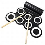 G'z Electronic Drum Set, Hand Roll up Drum Pad Portable Rechargeable Drum Kit, Black, 1