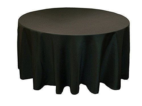Trimming Shop Black Round Tablecloth with Linen Banquet Poly Seamless Tablecloth for Restaurant, Dining, Birthday, Candlelight Dinner, Party, Wedding, 120 Inch
