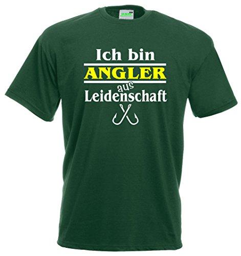 Fischer T-Shirt Ich bin Angler aus Leidenschaft | Funshirt | Premiumshirt von Bimaxx® Flaschengrün