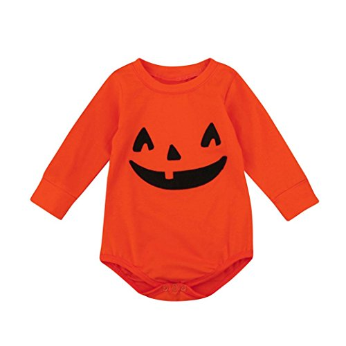 JIANGFU Halloween Baby kletternde Kleidung lange Hülse Spielanzug,Säuglings-Baby-Jungen-Mädchen-Halloween-Kürbis-langes Hülsen-Spielanzug-Overall-Kleidung - Halloween-gruselige Mit Requisiten Geschichte