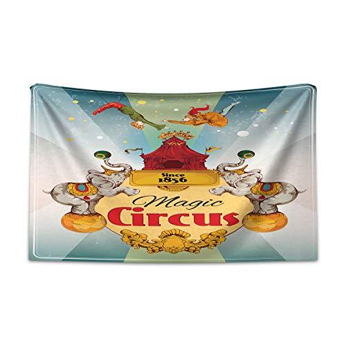ABAKUHAUS Bunt Wandteppich und Tagesdecke, Weinlese-Zirkus-Zelt aus Weiches Mikrofaser Stoff Kein Verblassen Klare Farben Waschbar, 230 x 140 cm, Mehrfarbig