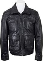 UNICORN Mens Casual Short Leather Jacket Black Soft Touch Leather #DL
