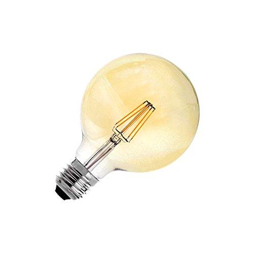 Bombilla LED E27 Regulable Filamento Supreme Gold G125 6W efectoLED