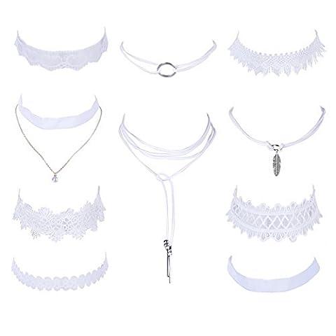 MJARTORIA Women White Mixte Clavicle Lace Choker Girls Necklace Set of 10