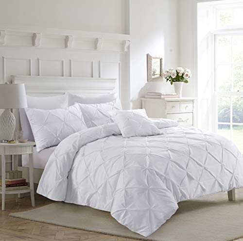 Fixtex - set copripiumino con federe, per letto singolo, matrimoniale, king e super king, colore: bianco, bianco, super king