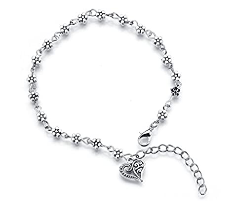 Ankle Bracelet With Heart Anklet Silver Plated Chain Classic Flower Fashion Charm Jewelry For Women