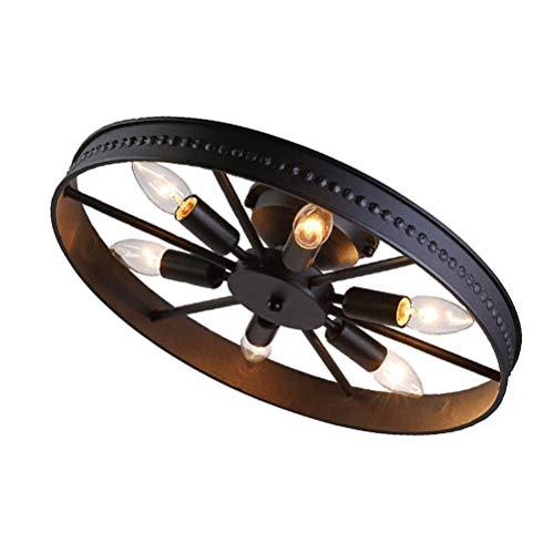 Retro Vintage Deckenleuchte Modern Design Ring Rad Deckenlampe Kreative Eisen Rund 6-flammig Deckenstrahler Dekoration Decken Lampe Industrial Landhaus E14 Badezimmer Flur Wohnzimmer Einbaustrahler (Schwarz) - Schwarz-badezimmer-lampen