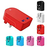 Ameego fast charging Dual USB Plug, Foldable Universal 3.1AMP/3100mAh 2-Port USB Mains Charger Plug Adapter for All Mobile Phones & Tablets & Power banks & Speakers and other USB Devices (Red)