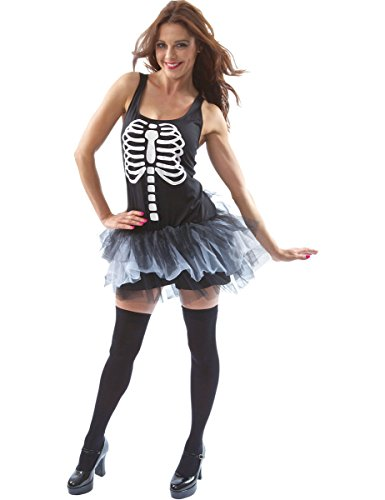 Adult-Ladies-Sexy-Skeleton-Bones-Tutu-Halloween-Fancy-Dress-Outfit-Costume-Extra-Large