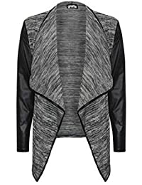 The Home of Fashion court pour femme Manches en PVC Gris Noir Fashion Blazer drapé effet cascade Veste