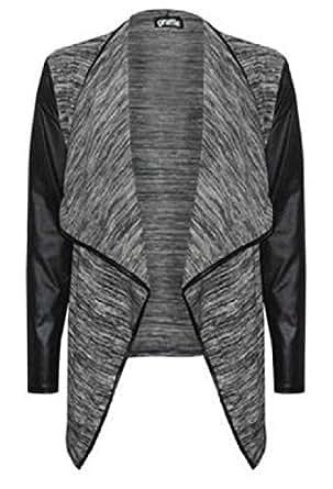 The Home of Fashion New Womens Grey Cropped Black PVC Sleeve Waterfall Blazer Coat Jacket (SM (8-10))