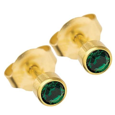 BRAND NEW EAR PIERCING STUD 3 MM BEZEL ROUND STUDS EARRINGS STUD CERTIFIED STERILE SEALED PACK GOLD COLOUR