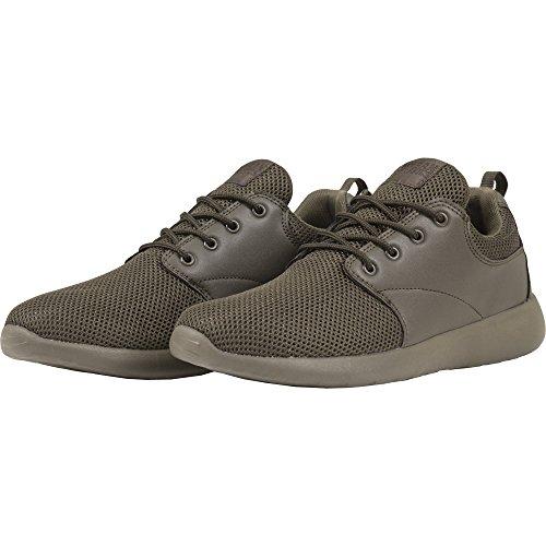 Urban Classics Damen und Herren Light Runner Shoe, Low-Top Sneaker für Damen und Herren, Sportschuhe mit Schnürung, Dark Olive, Größe 42 -