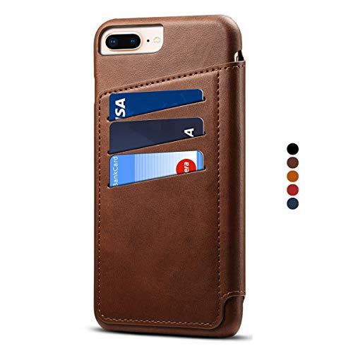 Apple iPhone 7 Plus Leder Handy Hülle Flip Case Handytasche Cover Schale  mit Kredit Karten Fach Geldbörse Geldklammer Leder Handy Schutzhülle b28212e2d3