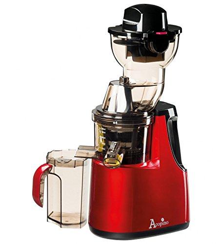 Acopino 360 Delicato Slow Juicer Kaltpress-Entsafter mit Press-Schnecken-Technik für ganze Früchte, rot