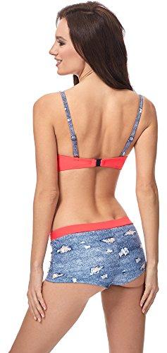 Merry Style Damen Bikini Set MSVR725 Blau Jeans/Rot