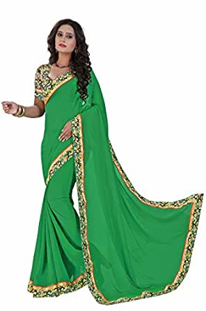 Bhoomi creation Chiffon Saree With Blouse Piece(FS vol-9 -1077_Green_Free Size)