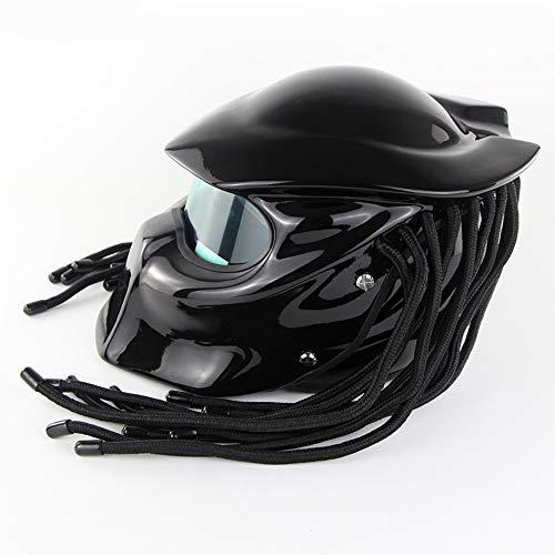 HXZM Casco del Motociclo del Principe/D. O. T Certificato CEC Standard Predator Street Ride personalità Dadi Maschera LED off-Road Casco-Guerriero frastagliato,matteblack,L59~60CM