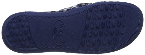 Isotoner Damen Ladies Jersey C/Front Slipper Pantoffeln blau (marineblau)