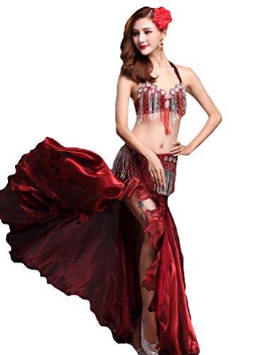 YiJee Mujer Belly Dance Costume Oriental Danza del Vientre Falda Rojo
