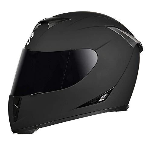 KDJJH Integrali Caschi, con Double Visor Mezzo Casco Moto Omologato Casco Motocross anticollisione Helmets Adatto per Uomini e Donne,Black_L/(57-58cm)