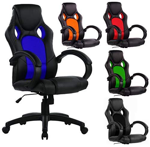 SPS-Racing Exclusiver Racing Bürostuhl Chefsessel Drehstuhl Schreibtischstuhl Gaming Office Chair (schwarz/blau)