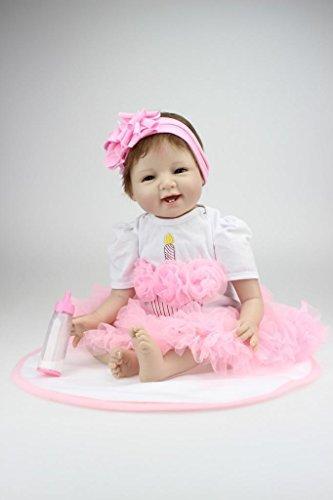 Nicery Reborn Baby-Puppe Weich Silikon Vinyl 22inch 55 cm magnetisch Mund lebensechte Boy Girl Mädchen Spielzeug Lächeln Prinzessin Rosa ()