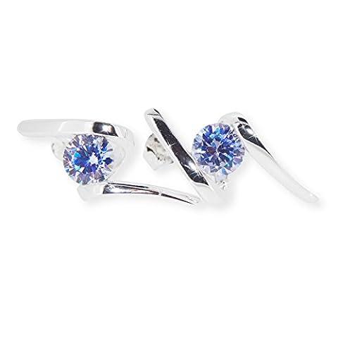 Stearling Silver Lavender Cubic Zirconia Twist Earrings