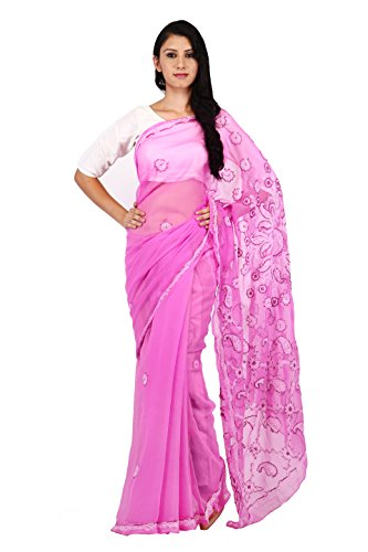 BDS Chikan Women's Lucknow Chikan Dark Pink Georgette Saree with White &...