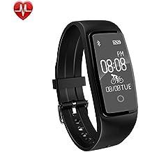 AsiaLONG Fitness Armband mit Pulsmesser Wasserdicht Fitness Tracker Aktivitätstracker Schrittzähler Uhr mit Herzfrequenz / Schlafanalyse / Kalorienzähler / SMS SNS Wecker Vibration für Android und IOS Smartphones