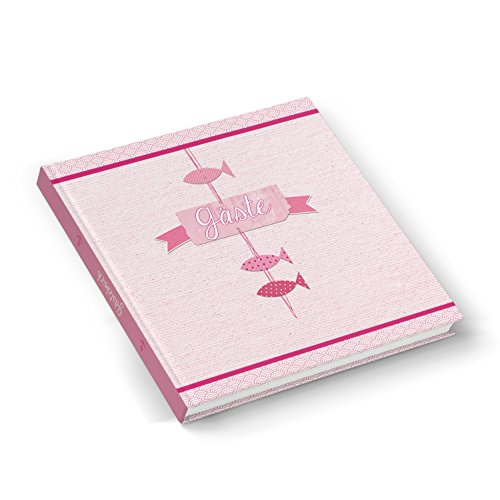 Rosa rot pink farbenes Gästebuch Fische maritim Fischchen rose 21 x 21 cm Hochzeitsgästebuch - Kommunion Taufe Mädchen Hochzeit Firmung hochwertig starke Blätter, für jeden Stift!