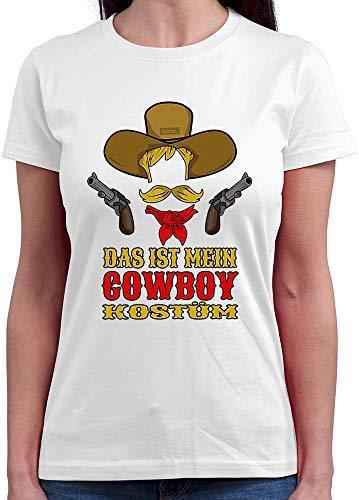 HARIZ  Damen T-Shirt Rundhals Das Ist Mein Cowboy Kostüm Karneval Kostüm Plus Geschenkkarte Weiß ()