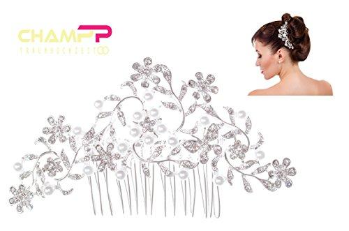 CHAMPP Hochzeit Haarkamm, Strass mit künstlichen Perlen, Haarschmuck edel, für jede Braut und...