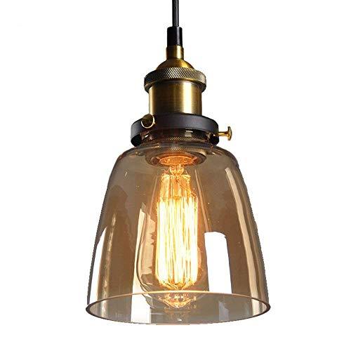 Braune Pendelleuchte (E-L Pendelleuchte Braunes Glas Kuppel Lampenschirme Kronleuchter Retro Messing Industrielle Anhänger Deckenleuchte Loft Dekorative Bar Gelb, Gelb)