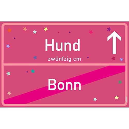 Kondom Hunde Für Kostüm - vanva Hunde Schild Hund Bonn Schild pink Hunde-Ortsschild Ortstafel Wanddeko Party süße Geburtstag Geschenk Frauen Geschenkidee Männer 30x20 cm Schild mit Sprüchen Hunde Sachen