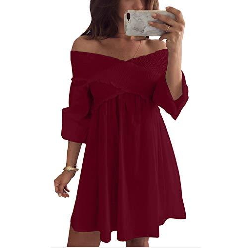 Frauen V-Ausschnitt Plissiert Off-The-Schulter Minirock und Knie Rock Trompete Ärmel Einfarbig Lose Kleid(Rot,M)