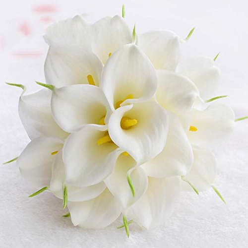 Calla Lily ronde style fleurs mariée bouquet demoiselle d'honneur mariée tenant des fleurs (Color : Blanc)