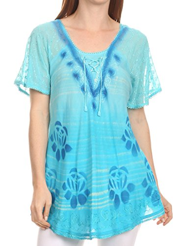 Lace Embroidered Cap Sleeve Corset Tie Dye Blouse Top Shirt-Türkis-OS (Tie Dye Strumpfhose)