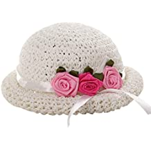 Sombrero de sol con tres flores  Sombrero de paja de la playa del bebé bcb2724facc