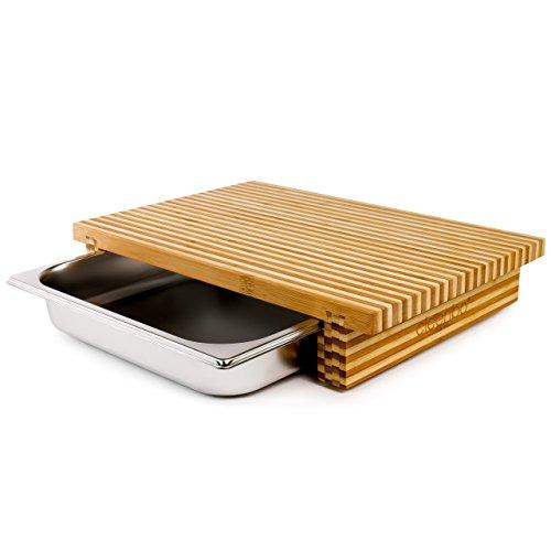 cleenbo Schneidebrett Bamboo Bicolor GN, Profi Holz Küchenbrett aus geöltem zweischicht Bambus, Schneidebretter mit Schublade, Bambusbrett groß mit Edelstahl Auffangschale, Board: 43 x 29 x 7,5 cm