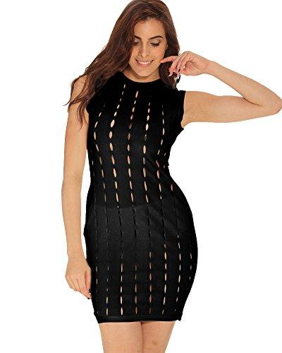 Whoinshop Damen Ärmellos Bodycon Kleid Aushöhlen Figurbetontes Bandage Cocktailkleid mit Unterwäsche Schwarz