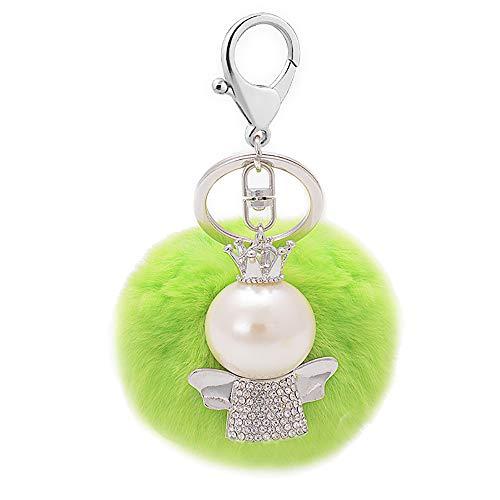 Pompon Fell Hairball Woth Angel Keychain Long Dangle Schlüsselanhänger für Frauen Mädchen Handtasche Geldbörse Decor - Winzige Gold-charme-halskette