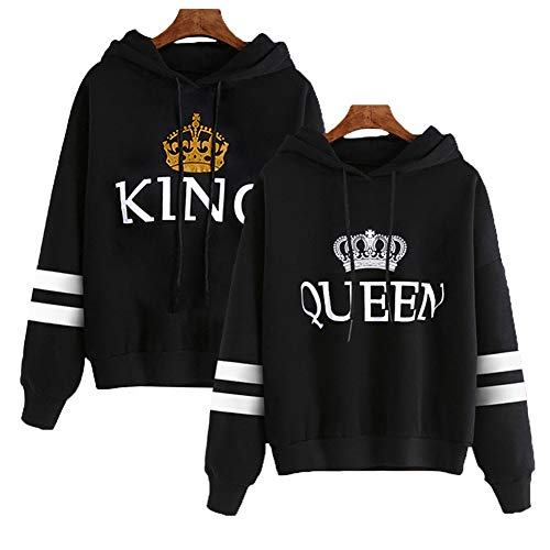 918coshiert King Queen Pullovers Pärchen Kapuzenpullover Hoodies Gestreifte Ärmel Paare Pulli Couple Matching Sweatshirts Set(Herren M + Damen M Schwarz#King+Queen)