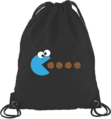 Shirtstreet24, BLUE MONSTER, Turnbeutel Rucksack Sport Beutel, Größe: onesize,Schwarz (Cookie Monster Rucksack)