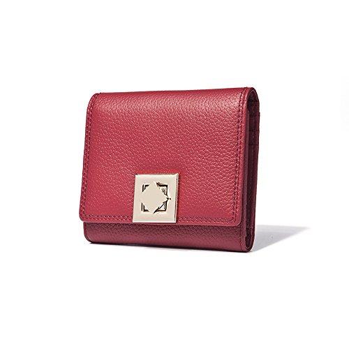 Raccoglitore di Cuoio Genuino delle Donne, Borsa delle Donne delle Racchette della Borsa dell'inarcamento della Frizione delle Signore Titolare di Carte Monetarie (Rosso) Rosso